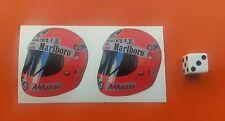 x2 Niki Lauda Helmet F1 Stickers  F1 50mm x 50mm March, BRM, Ferrari, Brabham,