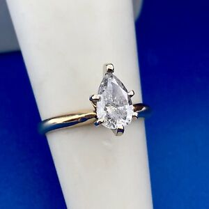 Classic 14K Yellow Gold Pear Diamond Solitaire Engagement Bridal Ring 1 Carat