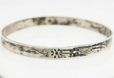 Antique Vintage 1920 Art Deco Sterling Silver Handmade Flower Bangle Bracelet!