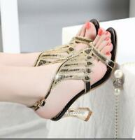 Fashion Womens Rhinestone Ankle Strap Ladies Court Date Shoes Sandals US Size