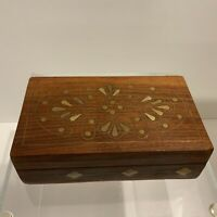 Boho Style Vintage Small Rose Wood Trinket Box with Brass Inlaid Design