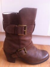 Ladies Brown Leather WITTNER Boots AUS Size 7 EU 38 Mid Height Heels Buckles