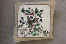 Completed Wool Tapestry Cushion - Wren