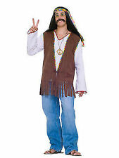 Mens Woodstock Hippie Faux Suede Fringed Vest Costume Fm61664