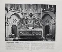 1896 London Aufdruck Mit Beschreibende Text pro-Cathedral Kensington High Altar