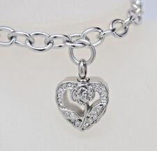 Cremation Urn Bracelet, CZ Accented Rose Heart    Memorial Keepsake Bracelet