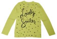 BENETTON maglia manica lunga cotone verde acido bambina bimba M - 7/8 anni NUOVA