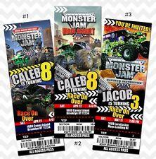 Monster Jam Invitation, Monster Jam Birthday, Grave Digger Ticket Invites