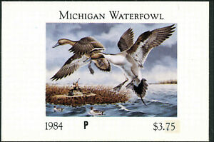 Michigan #9PI 1984 État Canard Tampon Imperf Preuve Pintails Par Paul Bridgford