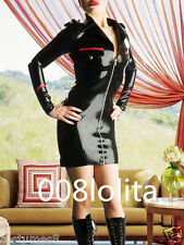 100%Latex Rubber Stylish Black and Red Uniform Dress Size XS-XXL
