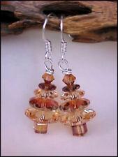 Swarovski Element 'Golden Shadow & Crystal Copper' Christmas Tree Earrings #03