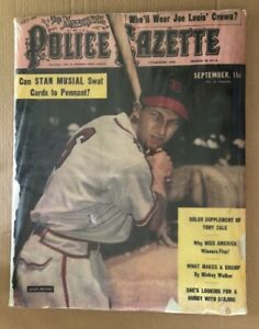 Police Gazette Original Vintage Poster Stan Musial St. Louis Cardinals Baseball