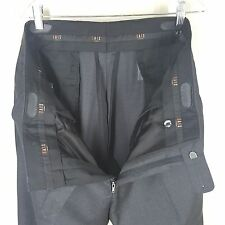 "DAKS London Flat Front  Charcoal Gray Pants  4 season Wool   36 "" X 32""     Mint"