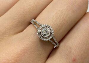Round Cut Diamond Ring With Diamond Halo & Split Shank
