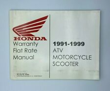 Honda 1991-99 Atv Motorcycle Scooter Warranty Flat Rate Manual Free Shipping