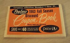 "1963 Discount 'COUPON BOOK'~""PAYLESS Drug Stores""~48 Coupons~"