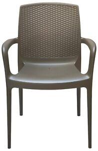 Italian Stackable Indoor Outdoor Patio Dining Armchair Rattan Back - 4 Chairs