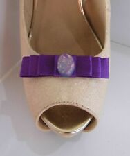 2 Small Purple Bow Clips for Shoes with Opaque Button Centre