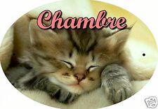 PLAQUE DE PORTE OVALE RIGIDE CHAT CHATON REF111 personnalisée  prénom CHAMBRE