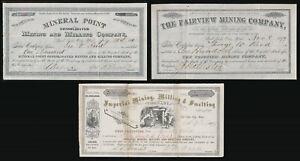 (1879-1880) SALT LAKE CITY, UTAH TERRITORY 3 MINING COMPANY STOCK CERTS > NO RS