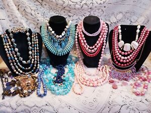 22 Piece Vintage and Modern Colorful Beaded Necklace Lot - Trifari