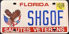"FLORIDA "" SALUTES VETERANS - EAGLE - FLAG "" FL Military Specialty License Plate"