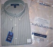 NWT Sealed 16.5 - 17 34/35 Croft & Barrow Dress Shirt Sage Green Stripe