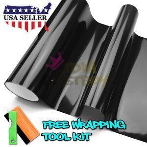 "12""X72"" Gloss Dark Black Smoke Headlight Taillight Fog Light Tint Film Vinyl"