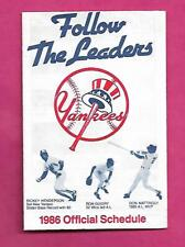 RARE 1986 NEW YORK YANKEES  POCKET SCHEDULE  (INV# C2174)
