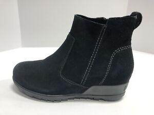 Sorel Women's Evie, Wedge Zip-Up Booties-Black Suede, Size 8.5M.