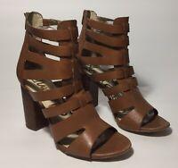 Sam Edelman Yazmine Brown Weave Leather Caged Open Toe Size 9.5M Block Heel