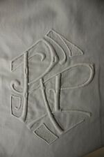 Vintage French linen sheet trousseau RP monogram 87 X 120 LONG! cotton heavy