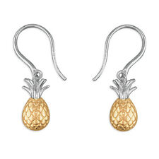 SILVER GOLD PINEAPPLE  EARRINGS  925 STERLING SILVER YELLOW GOLD DROP HOOK