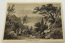 1881 magazine engraving ~ WOMEN SIT NEAR the shores of LAKE NEMI ~ Italy