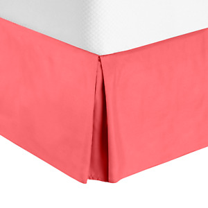 """Solid Luxury Pleated Tailored Bed Skirt - 14"""" Drop Dust Ruffle, Queen-Coral Pink"""