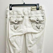 Rock Revival  Lillian Skinny White Jeans Women 28 Flap Pockets Silver Stitching