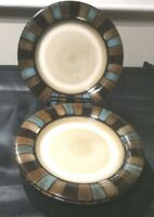 PFALZGRAFF EVERYDAY CAYMAN LOT OF 3 SALAD PLATES 7-7/8  MUTED BROWNS & TURQUOISE