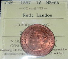 1887 Large Cent LANDON Pedigree ICCS Graded MS-64 RED ** STUNNING Victoria Penny