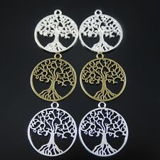 Hollow Life Tree Multi-colors Tone Alloy Charms Pendants Findings 12pcs 52029