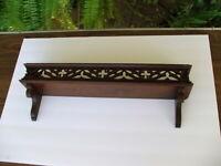 Fancy Antique Folk Art Victorian Gothic Walnut Collectors Decorative Wall Shelf