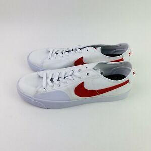 Nike SB Blazer Court Skate BLZR Men's Size 12 CV1658-100 White Red Swoosh