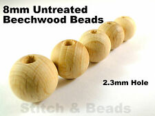 8mm Natural Wooden Beads Round Untreated Wood Balls With 2mm Hole 100% Beechwood