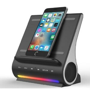 Azpen D100 Wireless Charging Station with Multiple USB Ports + Bluetooth Speaker