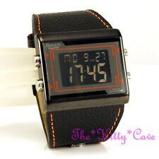 OMAX Orange Black Chronograph Steel Seiko Digital LCD Leather Sport Watch OAS083