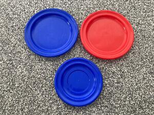 3x Toy Plastic Plates - Fake Kitchen Play - Red & Blue - Kids Children - BAMBOLA