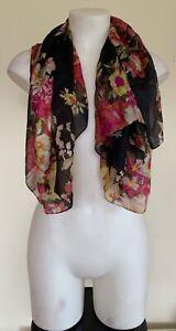 Unbranded Womens Black Pink Floral Print Lightweight Summer Bandana Scarf Square