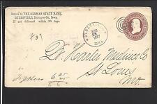 DYERSVILLE, IOWA 1887 COVER, ADVT THE GERMAN STATE BANK, DUBUQUE CO. 1854/OP.