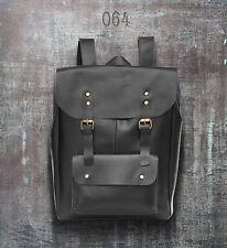 New Mens Geniune Leather Satchel School Shoulder Bag rucksack backpack black