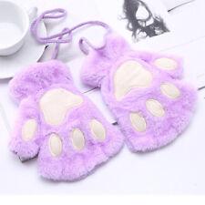 Womens Warm Cute Cat Claw Paw Plush Mittens Short Fingerless Gloves Half Finger