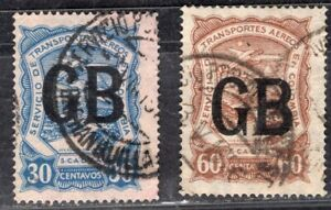 """COLOMBIA SCADTA 1923 AIR MAIL STAMP Sc. # CLGB55 AND CLGB57 OVPD """"GB"""" USED"""